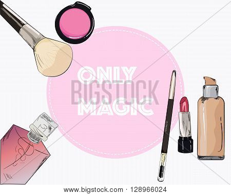 Cosmetics and fashion background with make up artist objects: lipstick, mascara, perfume, make-up brush. With place for your text .Template Vector.