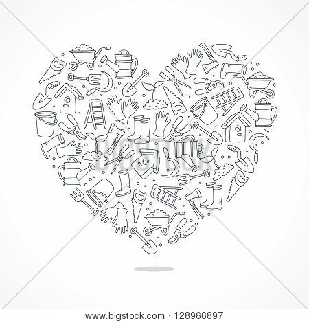 Icons of garden tools in the form of a large heart. Vector illustration on white background. Outlined icons. Elements for design.