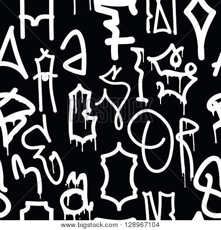 Graffiti background seamless pattern. Vector Tags, writing. Graffiti hand style, old school. King of style, street art texture. Monochrome black and white