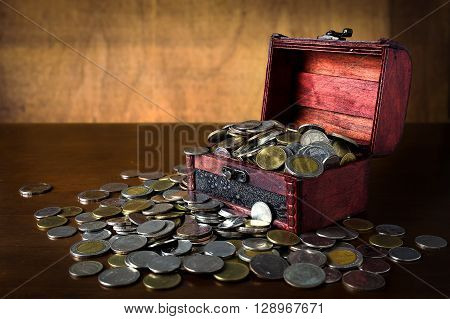 Saving coin in the old wood box