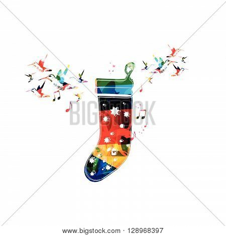 Vector illustration of colorful sock with hummingbirds