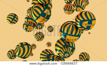 Large group of orbs or spheres levitation in empty space. 3D rendering. Sweden flag