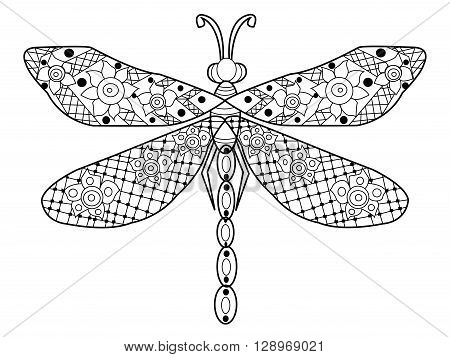 Dragonfly coloring book for adults vector illustration. Anti-stress coloring for adult. Zentangle style. Black and white lines. Lace pattern
