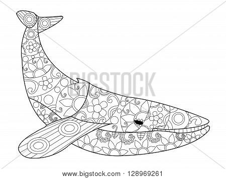 Whale coloring book for adults vector illustration. Anti-stress coloring for adult. Zentangle style. Black and white lines. Lace pattern