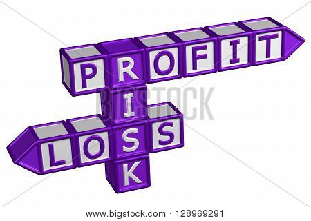 Blocks with word Profit Risk Loss isolated on white background. 3D rendering.