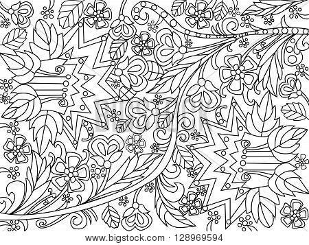 Flowers coloring book for adults vector illustration. Anti-stress coloring for adult. Zentangle style. Black and white lines. Lace pattern