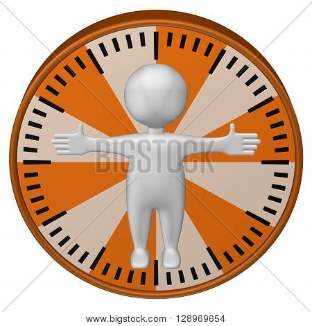 Concept: man-hour. 3d Man and clock face isolated on white background. 3D rendering.