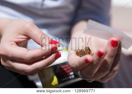 Unrecognizable woman with rolling paperslim filter and tobacco in hands