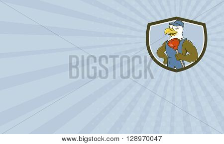 Business card showing illustration of an american bald eagle plumber wearing overalls and hat holding plunger with one hand on hips looking to the side set inside shield crest done in cartoon style.