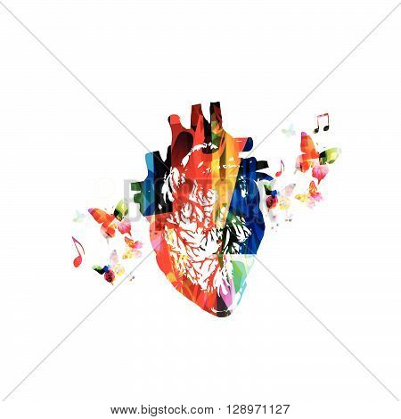 Vector illustration of colorful human heart with butterflies