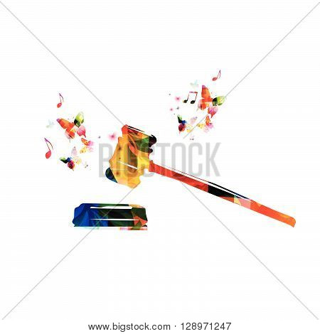 Vector illustration of colorful judge gavel with butterflies