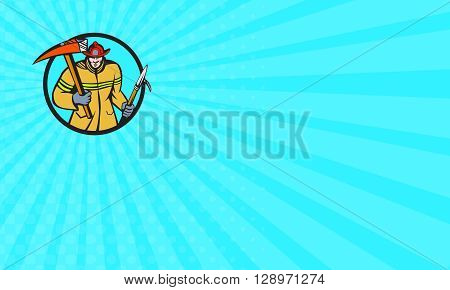 Business card showing illustration of a fireman fire fighter emergency worker holding a fire axe and hook viewed from front set inside circle on isolated background done in retro style.