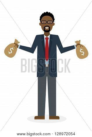Businessman with money bags. Isolated character. African american businessman holding bags of money. Wealth and investment.