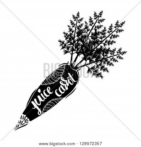 Creative typographic poster with the inscription in black vegetable silhouette with a handmade ornament isolated on a white background. Refreshing natural carrot juice . Vector illustration