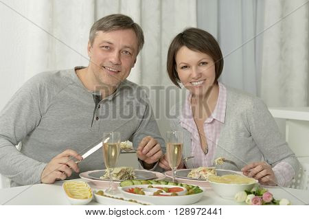 Portrait of a beautiful couple have dinner  in restaurant ** Note: Soft Focus at 100%, best at smaller sizes