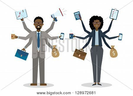 Multitasking african american businessman and woman on white background. Successful businessman. Workaholic. Talented and professional. Leadership.