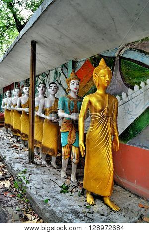 Statue of monks in Chiangmai, of Thailand.