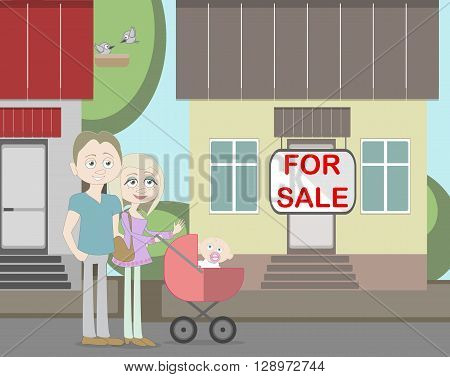 Young family with for sale house. Family search for new house. House with for sale sign. Happy new family. Parents and newborn child.