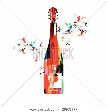 Vector illustration of colorful guitar and bottle with hummingbirds
