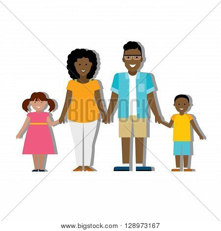 Multicultural traditional family with parents and children. Happy family. Boy and girl. African american family. Adopted girl. Smiling family