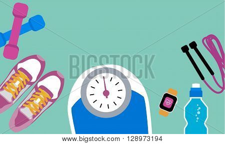 Set of fitness tools. Set of mat, sneakers, bottle, jump rope, watch and scale. Workout with dumbbells. Health and sport. Gym concept.