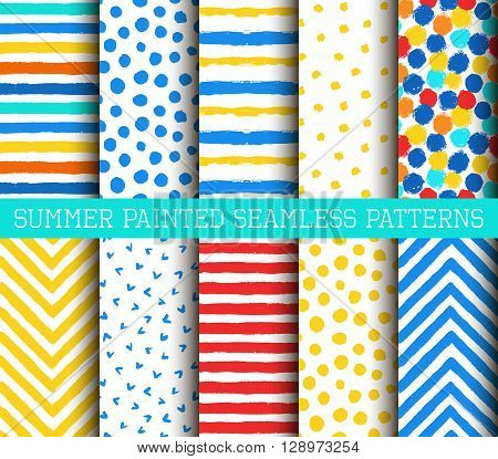 Summer Painted Patterns Set. Collection of bright backgrounds from brush strokes. Painted polka dot, striped and chevron patterns.
