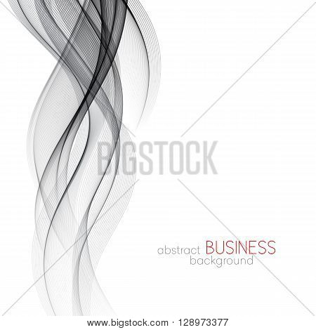 Abstract smooth gray wave vector. Curve flow grey motion illustration. Gray smoke wave. Abstract gray wave.