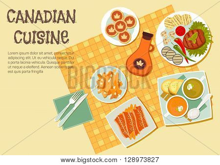 Canadian picnic dishes icon with top view of table with grilled beef steak and vegetables on the side, french fries topped with cheese curd and bacon, creamy pea and pumpkin soups, maple syrup bottle and butter tarts. Flat style