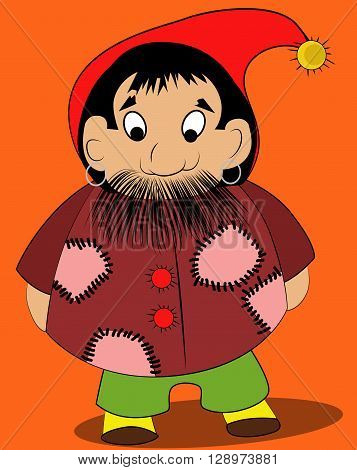 Cute gnome with moustache standing on orange background.