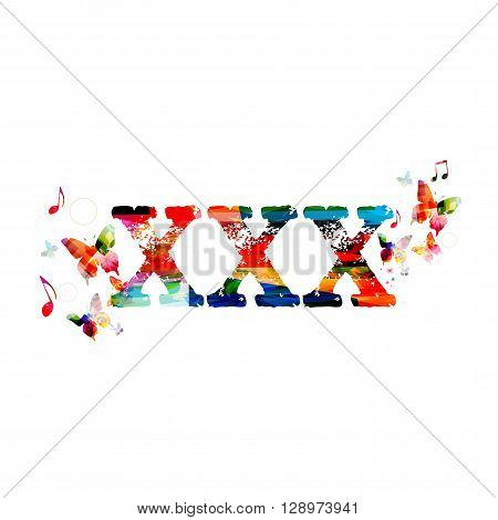 Vector illustration of colorful XXX inscription with butterflies