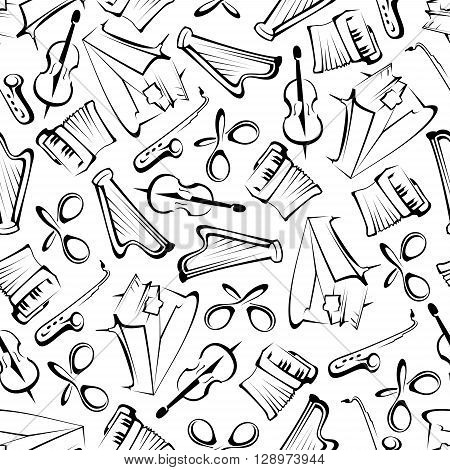 Black and white sketched musical instruments background for arts theme or scrapbook page backdrop design usage with seamless pattern of grand pianos, saxophones, violins, harps, accordions and mexican maracas