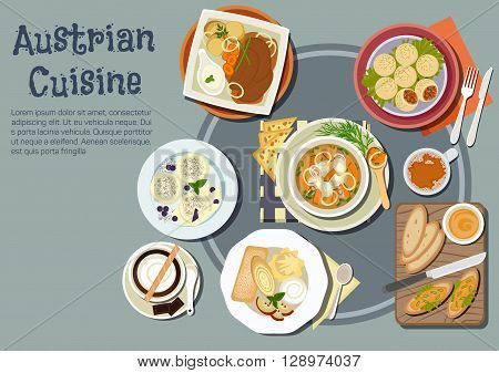 Nutritious austrian cuisine with open sandwiches topped with liptauer spread, goulash and pork dumplings, baked pork with boiled potatoes and garlic sauce, cups of coffee with chocolate, pancakes, ice cream and plum dumplings. Fl