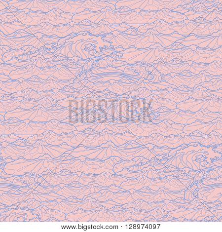 Ocean storm waves seamless pattern drawn in line art style. Tsunami. Coloring book page design