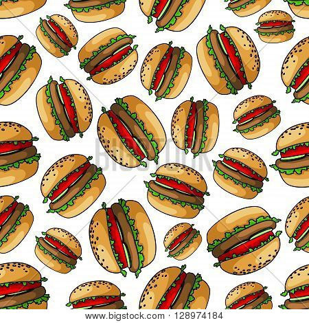 Seamless fresh juicy burgers background pattern of american bbq hamburgers with grilled meat, fresh tomatoes, cucumbers and lettuce on wheat buns. Use as picnic party theme or fast food cafe interior design