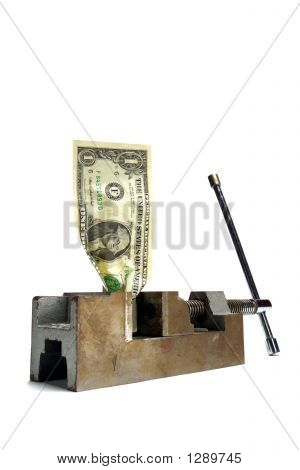 Cash Money Crunch Dollar Bill Crushed in Vise