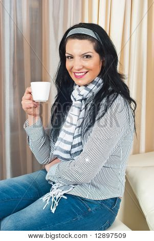 Smiling Woman With Tea Cup Home