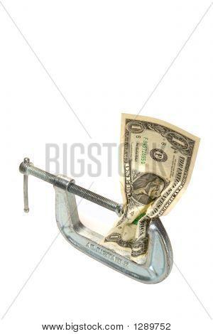 Cash Squeeze Dollar Bill in Adjustable Clamp