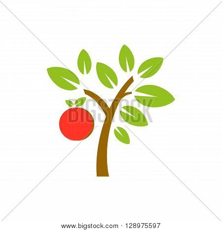 Vector apple fruit tree isolated on white background.