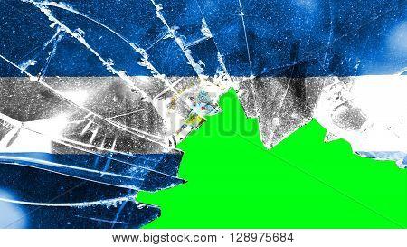 Flag of Nicaragua, Nicaraguan Flag painted on broken glass