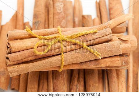 Top front view of Raw Organic Cinnamon sticks (Cinnamomum verum) bundle tied up with turmeric colored thread on other cinnamon background.