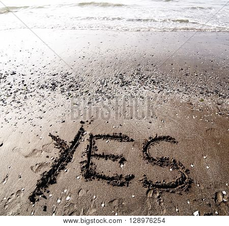 Yes Written On The Sand Of The Sea