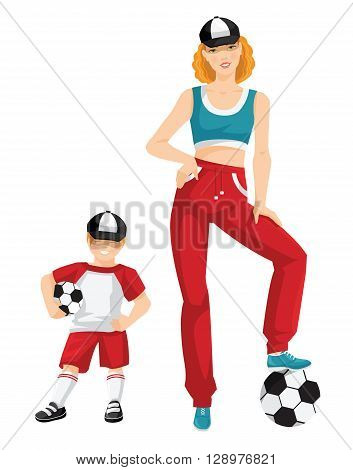 Vector illustration of young woman in sportswear isolated on white background. Redhead woman in red sport pants, light blue top, black cap and light blue sneakers. Little boy with soccer ball