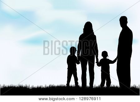 People  silhouettes. Silhouette family Vector conceptual illustration.