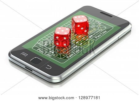 Online gambling concept with dice and craps table on the mobile - 3D illustration