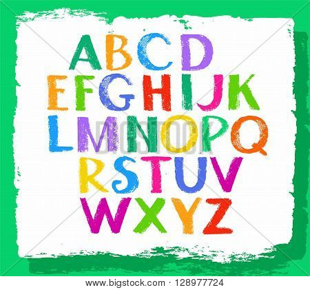Vector colorful letters of the English alphabet, the imitation of the texture of crayons. Capital letters.