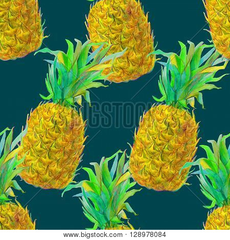 Seamless pattern with  hand drawn pineapple.  Exotic tropical pattern for wallpaper, textile, background, shopwindow design.