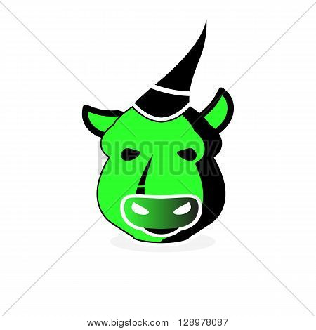 Gamer beast green bull mascot isolated on the white background.