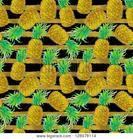 Seamless pattern with hand drawn pineapple fruit. Exotic tropical pattern for wallpaper, textile, background, shopwindow design.
