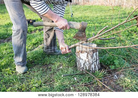Male Hands Chopping Firewood