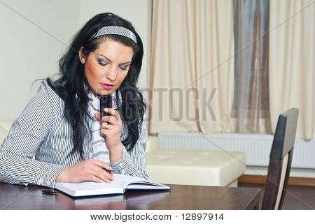Thinking Executive Woman Working Home